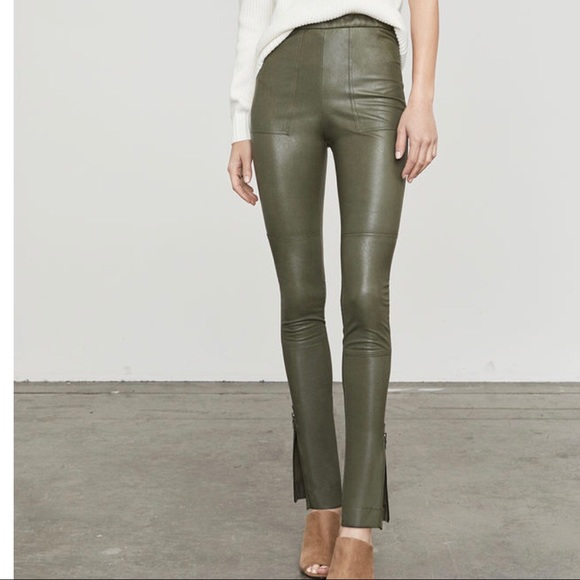 175f880a52885 BCBG Pants | Nwt Hanah Olive Green Faux Leather Pant Xs | Poshmark